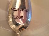 Hand Stamped Silver Coffee Spoon, Morning Love Coffee Spoon, Hand Stamped Silver, Coffee Spoon, Hostess Gift, Silver Teaspoon, Gift