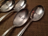 Hand Stamped Silver Soup Spoons with Valentine's Day Sayings, Hand Stamped Silver Spoons, Teaspoons, Silver Teaspoons
