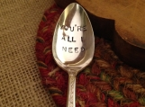 Hand Stamped Silver Spoon, Love Gift, Girlfriend Gift, Boyfriend Gift, Stamped Vintage Spoon, Wedding Gift, Bride Gift, Groom Gift, Husband