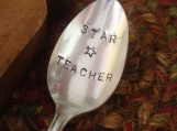 Hand Stamped Spoon, Stamped Silverware, Girl Friend Gift, Boy Friend Gift, Stamped Vintage Spoon,Teacher Gift, Engraved, Star Teacher