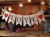 Love Banner, Wedding Bunting, Valentines Day Bunting, Valentines Day Banner, Valentines Day Garland, Valentines Pennant, Valentines Day