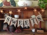 Sweets Banner, Dessert Table Banner, Wedding Banner, Wedding Photo Prop, Country Wedding, Upper Case Mr. & Mrs. Bunting, Dessert Bunting