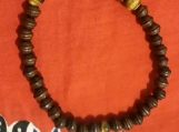 Tigers eye gemstone -wood beaded bracelet