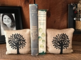 Tree Bookends, Burlap Bookends, Primitive Bookends, Bee Bookends, Feed Sack Bookends, Farmhouse Decor, Fabric Bookends, Rustic Bookends,