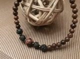 Volcanic accent  beads and wood beaded bracelet