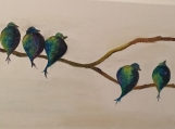 Blue Birds on a Branch in wax