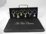 Boxed Christmas Wine Glass Charms In A Box - Free Shipping