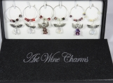Boxed Set Of Six Angel Wine Glass Charms - Free Shipping