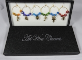 Boxed Set Of Six Drinks Themed Wine Glass Charms - Free Shipping