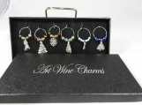 Boxed Wine Glass Charms Ready For Christmas - Free Shipping