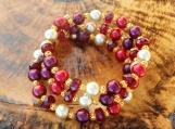 Burgundy Pearl & Crystal Memory Wire Bracelet