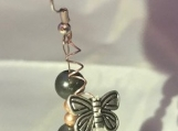 Butterfly drop earrings Swarovski Crystal Earrings black with copper accents, French wire