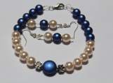 Crystal bracelet earring set Christmas holiday cream sapphire