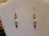 Faux pearl Swarovski crystal bead glass bead earrings sterling silver plated wire hook earrings white purple wine