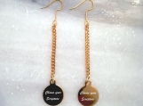 Gold Christian scripture bible verse earrings made in Canada