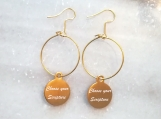 Gold Christian scripture bible verse hoop charm earrings Canada