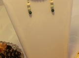 Green White Wooden glass beads silver accents silver plated earring wires jade dark bracelet earrings set