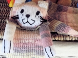 Hand Knitted Child's Pastel Coloured Cat Scarf - Free Shipping