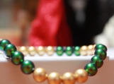 crystal bracelet earring set Christmas holiday emerald green