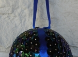 Handmade Dark Blue Christmas Bauble - Free Shipping