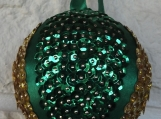 Handmade Green And Gold Christmas Bauble - Free Shipping