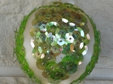 Handmade Light Green Sequins Christmas Bauble - Free Shipping