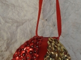 Handmade Red And Gold Christmas Bauble - Free Shipping