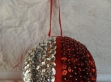 Handmade Red And Silver Christmas Bauble - Free Shipping