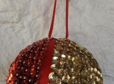 Handmade Small Red And Gold Christmas Bauble - Free Shipping