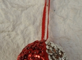 Handmade Small Red Silver Christmas Bauble - Free Shipping