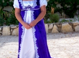 Handmade White Gown With Purple Cape - Free Shipping