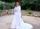 Handmade White Satin Medieval Dress - Free Shipping