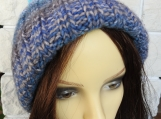 Knitted Blue And Grey Winter Pompom Hat - Free Shipping