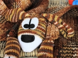 Knitted Child's Brown Multicoloured Dog Scarf - Free Shipping