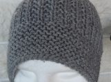 Knitted Men's Light Grey Beanie Hat - Free Shipping