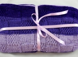 Knitted Patterned Baby Blanket In Purple Colours