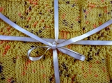Knitted Patterned Yellow Baby Blanket With Coloured Flecks