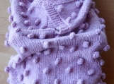 Knitted Pink Bobble Baby Papoose And Hat Set - Free Shipping