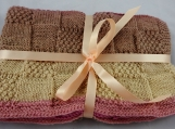 Knitted Soft Patterned Baby Blanket In Pinks And Browns