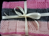 Knitted Striped Patterned Baby Blanket In Pink And Grey