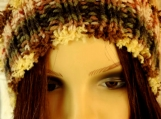 Knitted Women's Brown Multicoloured Pompom Hat - Free Shipping