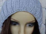 Knitted Women's Light Grey Winter Pompom Hat - Free Shipping