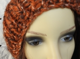 Knitted Women's Orange And Brown Pompom Hat - Free Shipping