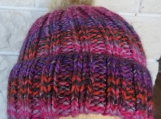 Knitted Women's Pink And Grey Winter Pompom Hat - Free Shipping