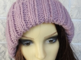 Knitted Women's Pink Winter Hat With Fawn Pompom - Free Shipping