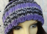 Knitted Women's Purple And Black Pompom Hat - Free Shipping