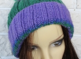 Knitted Women's Purple And Green Hat With Pompom - Free Shipping