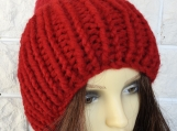 Knitted Women's Red Hat With Red Pompom - Free Shipping