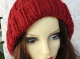 Knitted Women's Red Winter Pompom Hat - Free Shipping