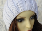 Knitted Women's White Beanie Hat, German Pompom - Free Shipping